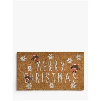 John Lewis & Partners Merry Christmas Robin Door Mat (H40 x W70cm)