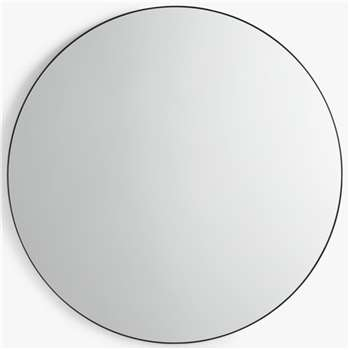 John Lewis & Partners Metal Frame Round Mirror, Black (H120 x W120 x D4cm)