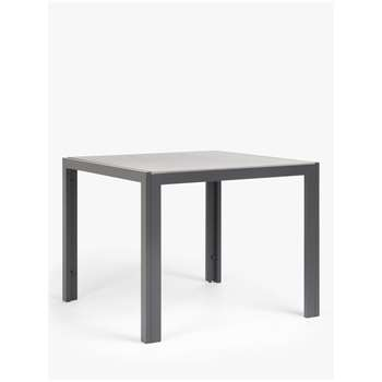 John Lewis & Partners Miami Glass 4-Seat Garden Table, Grey (H75 x W95.3 x D95.3cm)