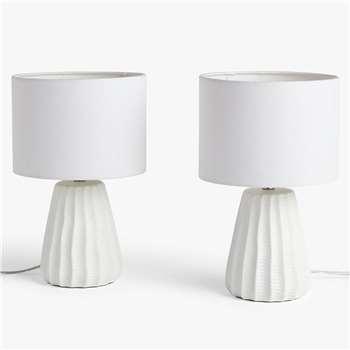 John Lewis & Partners Mini Luka Ceramic Table Lamps, Set of 2, White (H31 x W20 x D20cm)