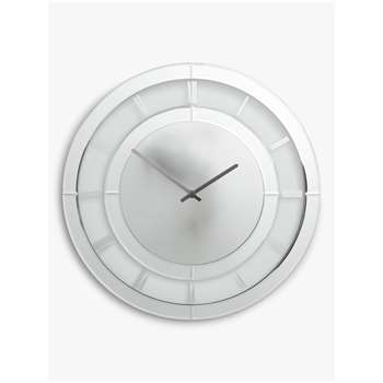 John Lewis & Partners Miral Glass Mirrors Clock, Clear (H50 x W50 x D4cm)