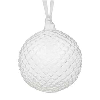 John Lewis & Partners Moonstone Clear Checker Bauble, Clear (H9.5 x W9.5 x D9.5cm)