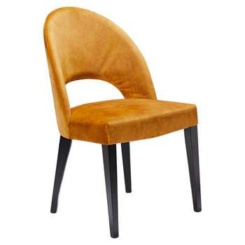 John Lewis & Partners Moritz Velvet Dining Chair, Amber (H85 x W50 x D57cm)