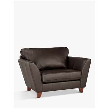 John Lewis & Partners Oslo Leather Snuggler, Dark Leg, Destroyed Leather (H85 x W126 x D95cm)