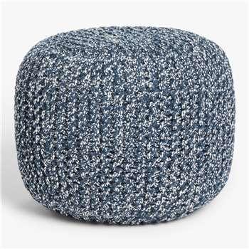 John Lewis & Partners Outdoor Knitted Pouffe, Navy (H40 x W51 x D51cm)