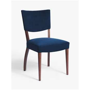 John Lewis & Partners Parisian Velvet Dining Chair, FSC Certified (Beech), Dark Blue (H85.5 x W48.5 x D59cm)