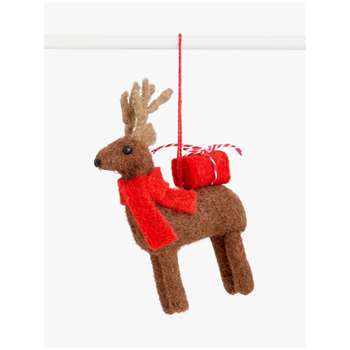 John Lewis & Partners Pop Art Felt Reindeer Tree Decoration (H16 x W10cm)