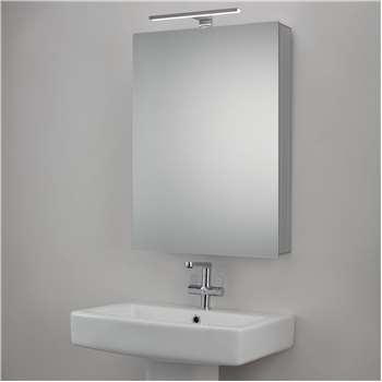 John Lewis & Partners Premiere Single Mirrored Illuminated Bathroom Cabinet (H70 x W50 x D13cm)