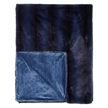 John Lewis & Partners Premium Faux Fur Throw, Navy (H150 x W200cm)