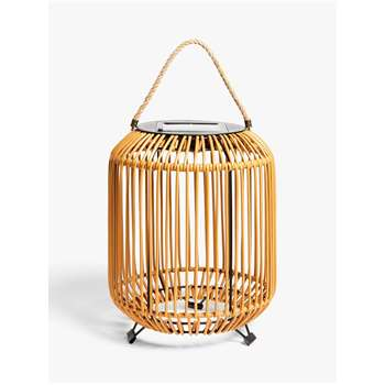 John Lewis & Partners Rattan Solar Powered Garden Lantern, Small, Natural (H36 x W28 x D28cm)