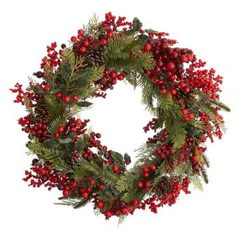 John Lewis & Partners Red Berry and Pine Wreath (Diameter 66cm)
