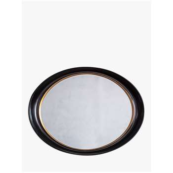 John Lewis & Partners Riley Oval Mirror, Black/Gold (H77 x W100 x D9cm)