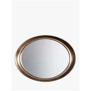 John Lewis & Partners Riley Oval Mirror, Champagne Silver (H77 x W100 x D9cm)