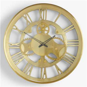John Lewis & Partners Roman Numeral Skeleton Clock, Gold (Diameter 46cm)