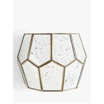 John Lewis & Partners Romy Mirrored Glass Pentagon Wall Light, Metallic Silver (H18 x W25 x D13cm)