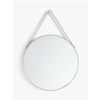 John Lewis & Partners Ronda Round Hanging Mirror, Gold (Diameter 50cm)