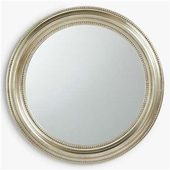 John Lewis & Partners Round Bead Mirror, Champagne (H76 x W76 x D4cm)