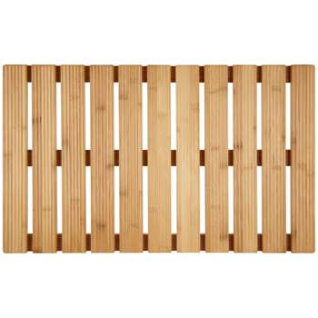 John Lewis & Partners Rubberised Bamboo Bathroom Duckboard, Natural (H2.5 x W40 x D66cm)