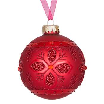 John Lewis & Partners Ruby Beaded Snowflake Bauble, Red (W8.3 x D8.3cm)