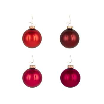John Lewis & Partners Ruby Glass Baubles, Tub of 20, Red/Multi (W6 x D6cm)
