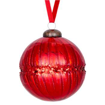 John Lewis & Partners Ruby Glittered Band Bauble, Red (W9 x D9cm)