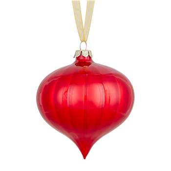 John Lewis & Partners Ruby Striped Onion Finial Bauble, Red (H8.2 x W8 x D8cm)