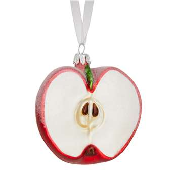 John Lewis & Partners Ruby Sugared Apple Bauble, Red (Width 9.5cm)