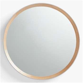 John Lewis & Partners Savina Wood Framed Round Mirror, Dia.75cm, Oak/Grey (H75 x W75 x D8cm)