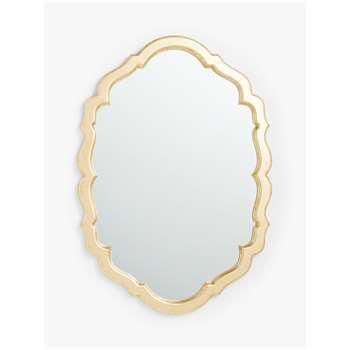 John Lewis & Partners Scallop Edge Wall Mirror, Antique Gold (H40 x W28 x D1cm)