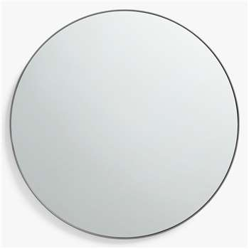 John Lewis & Partners Scandi Metal Small Round Mirror, Grey (Diameter 50cm)