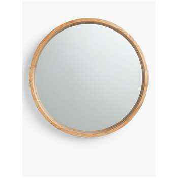 John Lewis & Partners Scandi Round Oak Mirror, Natural (H72.8 x W72.8 x D6cm)