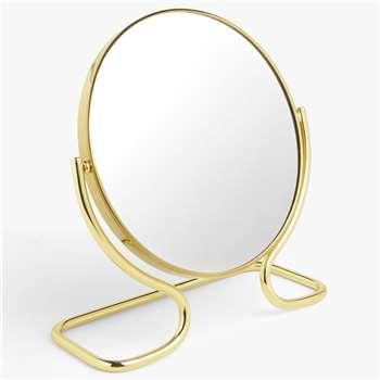 John Lewis & Partners Short Framed Pedestal Mirror, Brass (H24 x W23 x D9cm)
