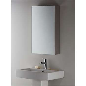 John Lewis & Partners Single Mirrored Bathroom Cabinet, Silver (H70 x W40 x D15cm)