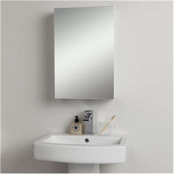 John Lewis & Partners Single Mirrored Bathroom Cabinet, White (H60 x W40 x D14cm)