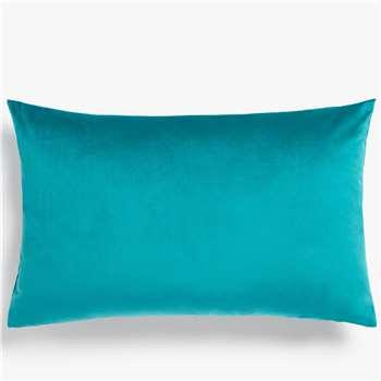 John Lewis & Partners Sloane Velvet Cushion, Teal (H35 x W55cm)