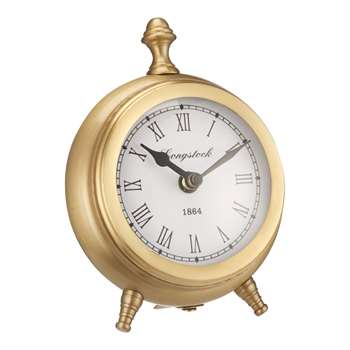 John Lewis & Partners Small Round Table Clock, Brass (H16 x W13 x D5cm)