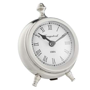 John Lewis & Partners Small Round Table Clock, Nickel (H16 x W13 x D5cm)