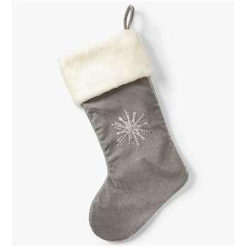 John Lewis & Partners Snowflake Christmas Stocking, Grey (H53 x W29cm)