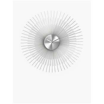 John Lewis & Partners Spindle Metal Analogue Wall Clock, Silver (H60 x W60 x D4cm)