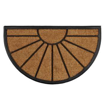 John Lewis & Partners Sunburst Rubber and Coir Door Mat Rug (H45 x W75cm)