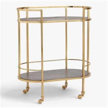 John Lewis & Partners + Swoon Lovelace Bar Cart, Gold (H82.5 x W69.5 x D40cm)