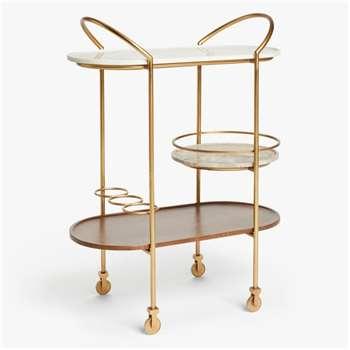 John Lewis & Partners + Swoon Raine Bar Cart, Gold (H99 x W75.5 x D44.2cm)