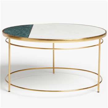 John Lewis & Partners - Swoon Sartre Marble Coffee Table, Gold/Green (H40 x W75 x D75cm)