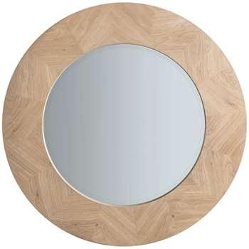 John Lewis & Partners Tapio Wood Inlay Round Mirror, Oak (H90 x W90 x D2.4cm)