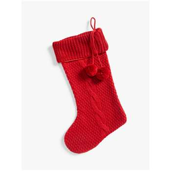 John Lewis & Partners Traditions Knitted Christmas Stocking, Red (H50 x W30cm)