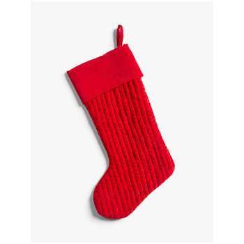 John Lewis & Partners Traditions Ribbed Velvet Christmas Stocking, Red (H48 x W30cm)