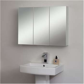 John Lewis & Partners Triple Mirrored Bathroom Cabinet, White (H60 x W80 x D14cm)