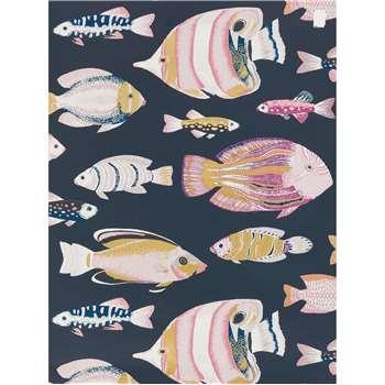 John Lewis & Partners Tropical Fish Wallpaper, Navy (H1000 x W52cm)