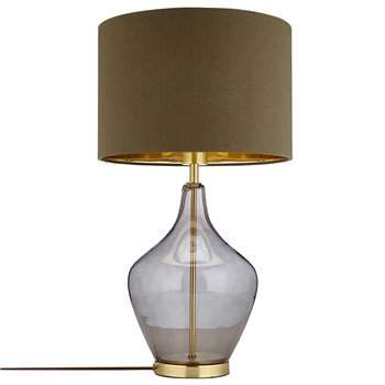 John Lewis & Partners Ursula Table Lamp, Smoked Glass (H56 x W32 x D32cm)