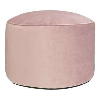 John Lewis & Partners Velvet Pouffe, Pale Pink (H38 x W55 x D55cm)